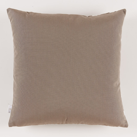 Lacefield Designs - Taupe White Square Print Corner Outdoor Pillow - OUT01