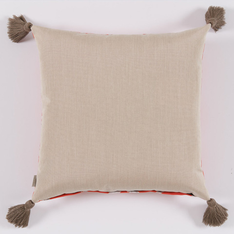 Lacefield Designs - Melon Bamboo Taupe Tassel Outdoor Pillow - OUT27