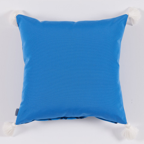 Lacefield Designs - Typhoon Blue Bamboo White Tassel Outdoor Pillow - OUT28