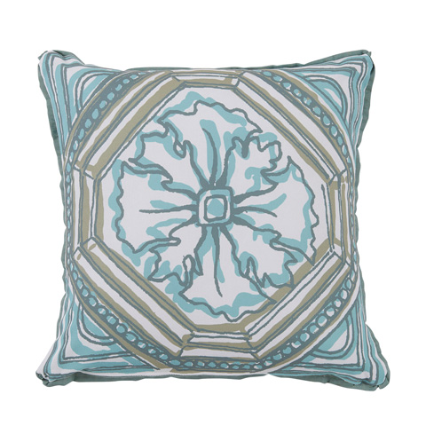 Lacefield Designs - Aqua SplashFloral TileReversible Outdoor Pillow - OUT58