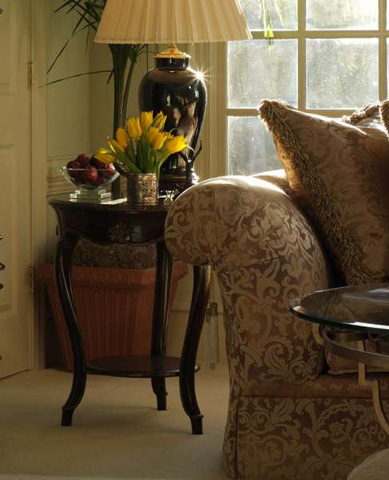 Marge Carson - Marble Top Round Side Table - VV30