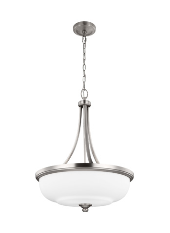 Feiss - Three - Light Uplight Pendant in Satin Nickel - F2966/3SN