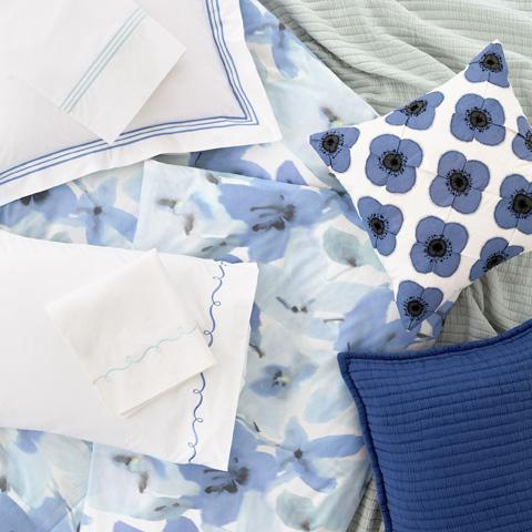 Pine Cone Hill, Inc. - Embroidered Hem White/Aqua Sheet Set in Queen - SESAQ
