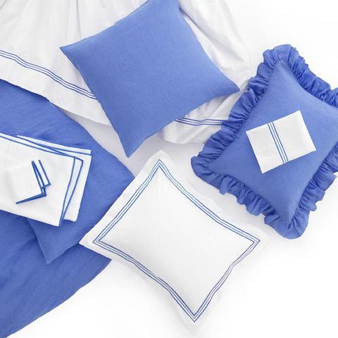 Pine Cone Hill, Inc. - Stone Washed Linen French Blue Duvet Cover in King - SWLBDCK