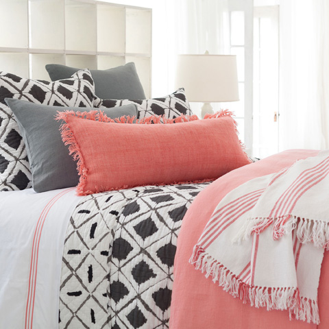 Pine Cone Hill, Inc. - Stone Washed Linen Coral Duvet Cover in King - SWLCDCK