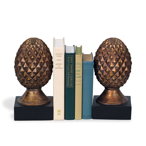 Port 68 - Set of Two Pineapple Bookends in Antique Gold - ACFM-124-01