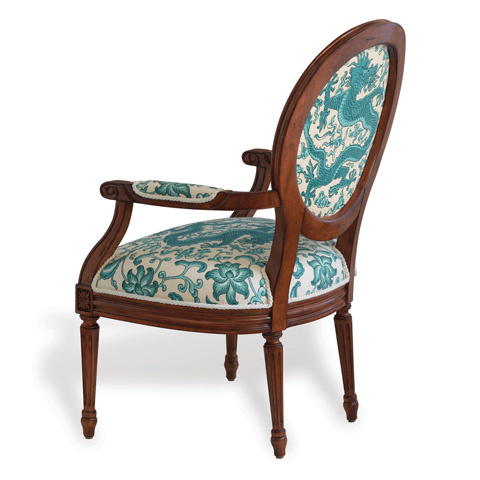 Port 68 - Avery Fruitwood Dragon Turquoise Chair - AFAS-042-33