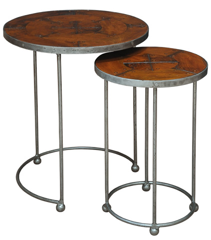 Sarreid Ltd. - Set of 2 French Walnut Stacking Tables - 27270