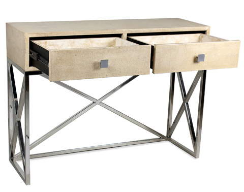 Sarreid Ltd. - Shagreen Console with Stainless Steel Base - 29562