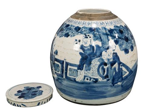 Sarreid Ltd. - Two Ladies Waiting Blue&White Round Vase - 29886