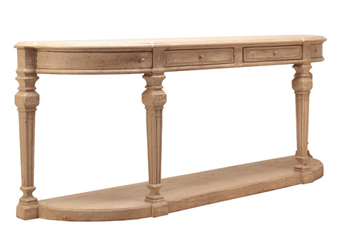 Sarreid Ltd. - Four Post Demilune Console - 29935