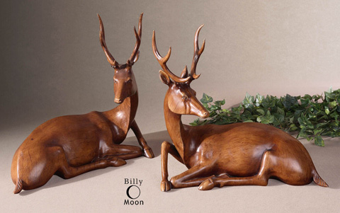 Uttermost Company - Buck Wood Tone Statues - 19344