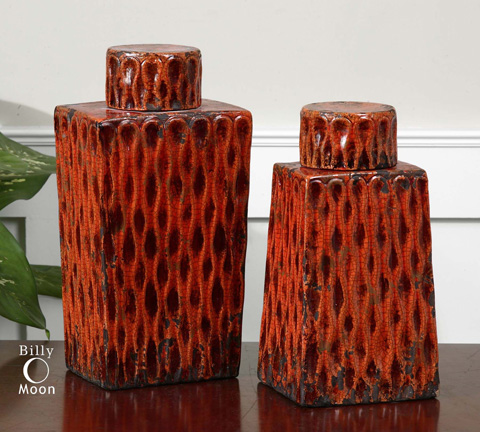 Uttermost Company - Raisa Burnt Orange Containers - 19504