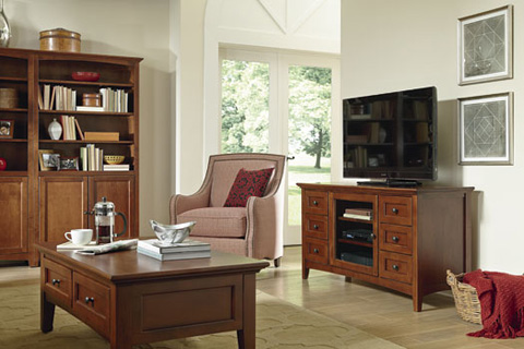Whittier Wood Furniture - McKenzie Alder Bookcase with Doors - 1545AEGAC