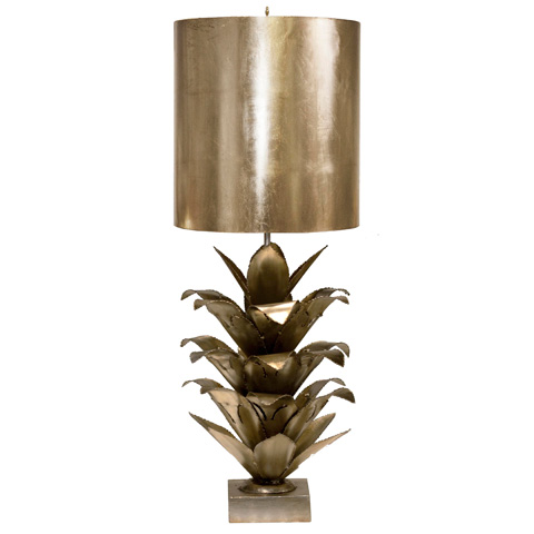 Worlds Away - Silver Leaf Brutalist Palm Table Lamp - ARIANNA S