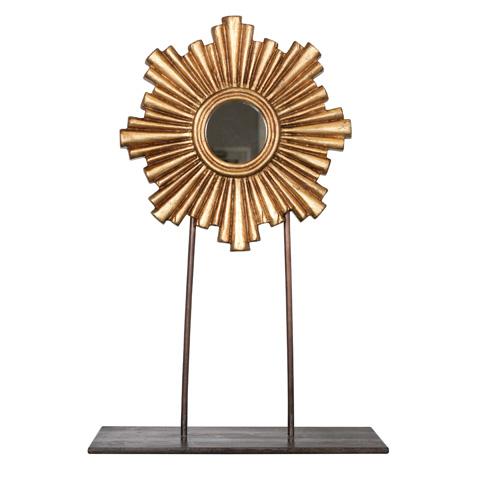 Worlds Away - Medium Gold Leaf Mini Mirror - CARMEN GMED