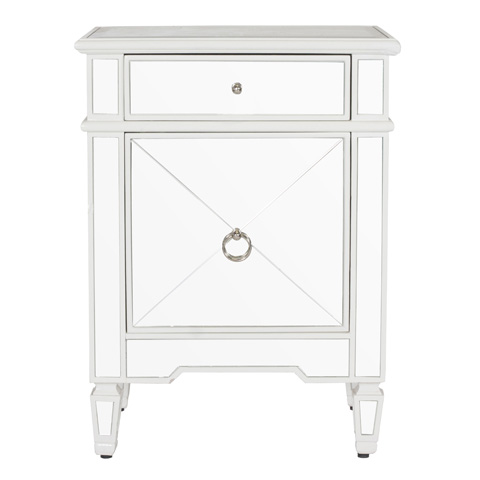 Worlds Away - Claudette White Lacquer Mirrored Nightstand - CLAUDETTE WH