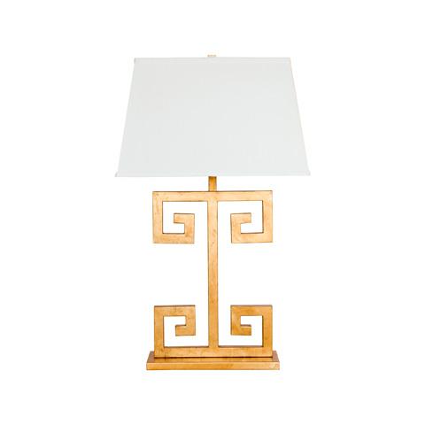 Worlds Away - Gold Leaf Greek Key Lamp - CLAYTON G