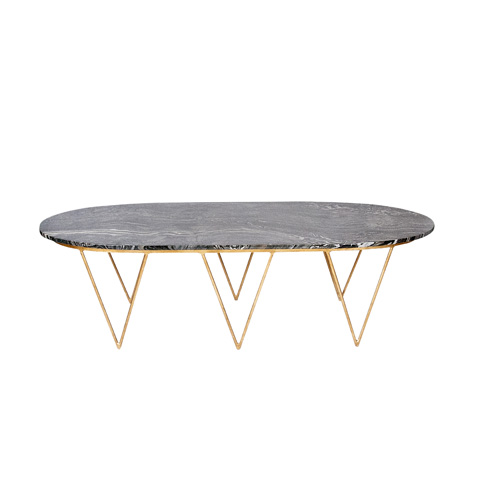Worlds Away - Oval Gold Leaf Coffee Table - SURF GB