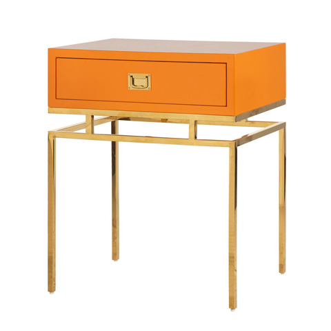 Worlds Away - Orange Lacquer One Drawer Side Table - CAYSON OR