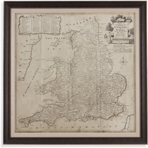 Bassett Mirror Company - Road Map of England & Wales - 9900-250