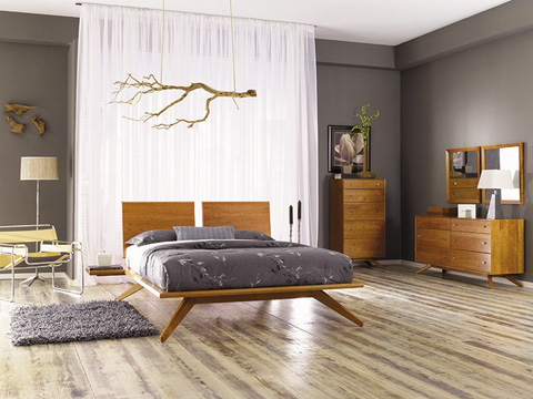 Copeland Furniture - Astrid Bed with Adjustable Panel in Maple - 1-AST-22