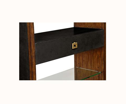 Curate by Artistica Metal Design - Worn Black Canvas Open Bookcase - C407-940