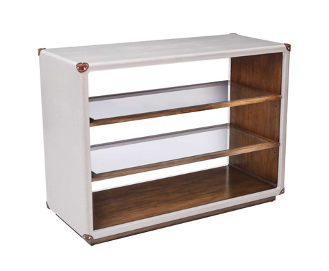 Curate by Artistica Metal Design - Worn Ivory Canvas Martial Open Bookcase - C408-930