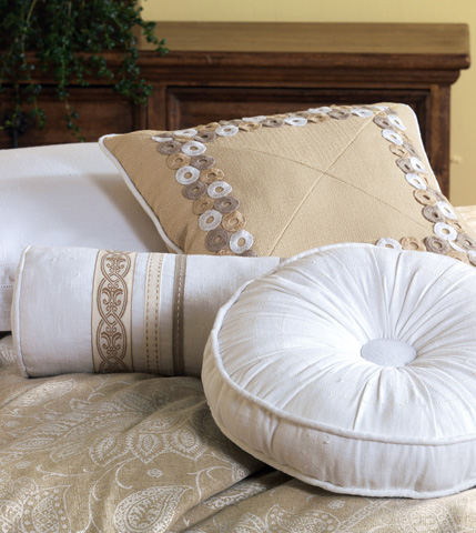 Eastern Accents - Breeze White Tambourine Pillow - AIL-06