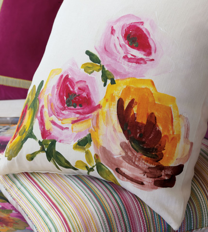 Eastern Accents - Hand-Painted Tresco Motif Pillow - TRE-11