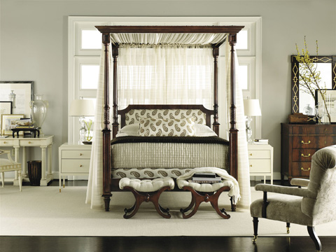 Hickory Chair - Belle Queen Poster Upholstered Bed - 5454-11