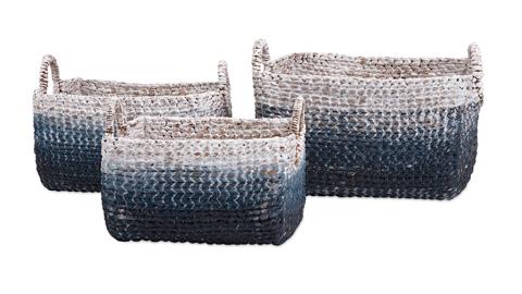 IMAX Worldwide Home - Cascade Woven Water Hyacinth Basket - Set of 3 - 11601-3