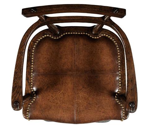 Jonathan Charles - Leather Seat Arm Barstool - 494315