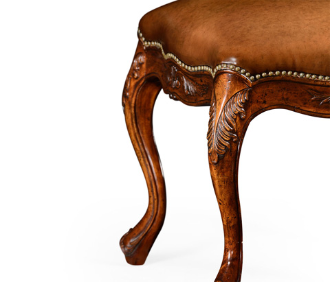 Jonathan Charles - Large French Provincial Walnut Footstool - 492813