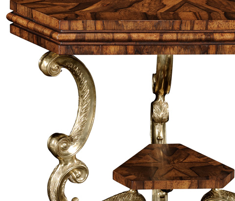 Jonathan Charles - Argentinian Walnut Triangular Topped Side Table - 494230