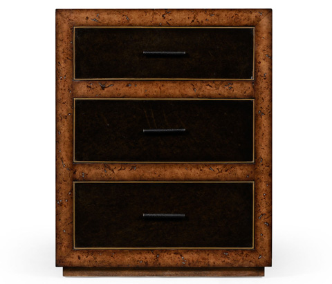 Jonathan Charles - Rustic Burl Oak And Leather Chest of Three Drawers - 494643