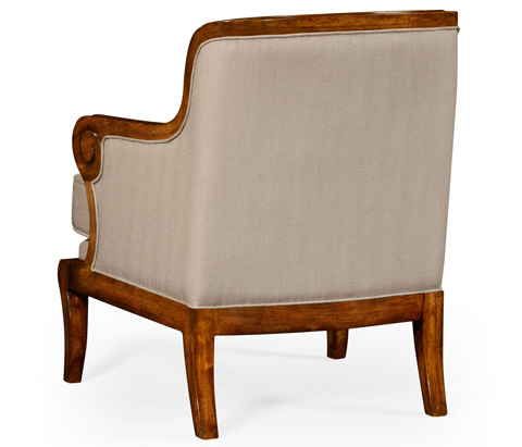 Jonathan Charles - Shallow Carved Walnut Upholstered Occasional Chair - 495180-WAL