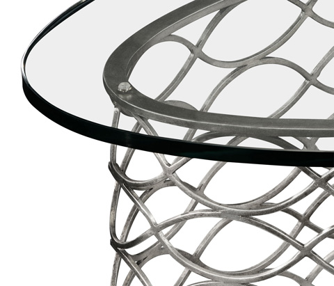 Jonathan Charles - Interlaced Silver and Glass Oval Coffee Table - 494577-S