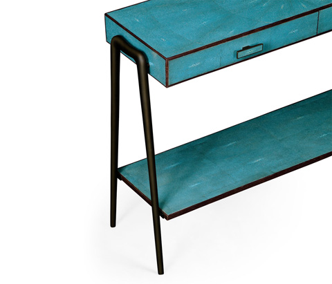 Jonathan Charles - Teal Faux Shagreen And Bronze Legged Console - 495204-BRO