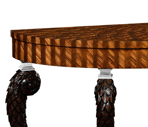 Jonathan Charles - Feather Inlay Handcarved Console - 495243