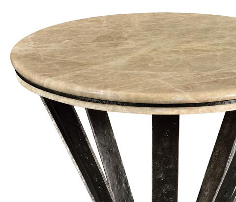 Jonathan Charles - Iron Round Dark Marble Table - 495309-RWL