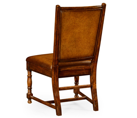 Jonathan Charles - Walnut Country Leather Side Chair - 493419