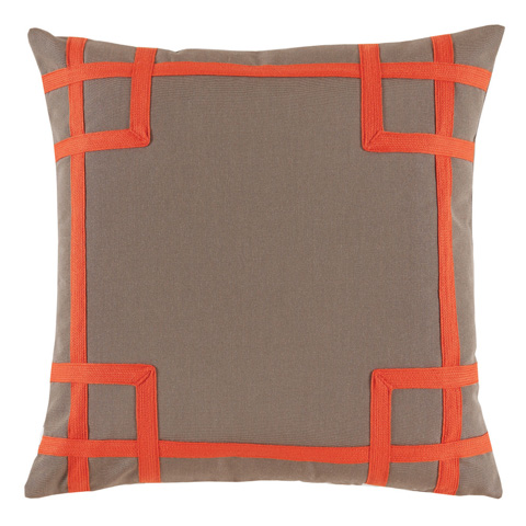 Lacefield Designs - Taupe Orange Square Print Corner Outdoor Pillow - OUT02