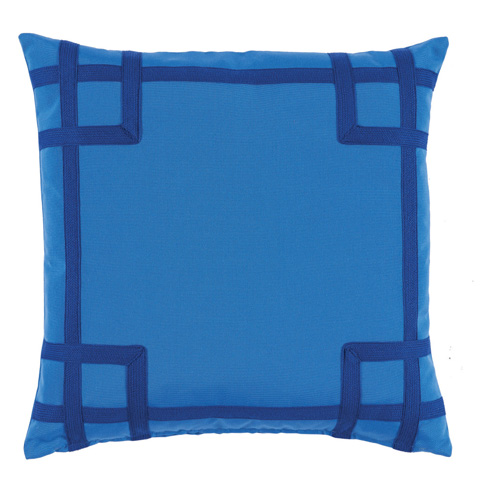 Lacefield Designs - Royal Blue TonalCorner Tape Print Outdoor Pillow - OUT07