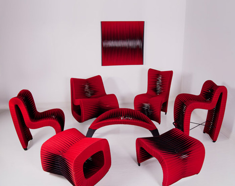 Phillips Collection - Seat Belt Ottoman in Red - B2064RZ