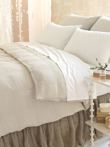 Pine Cone Hill, Inc. - Linen Mesh Natural Natural Bed Skirt in Queen - LMBSQ