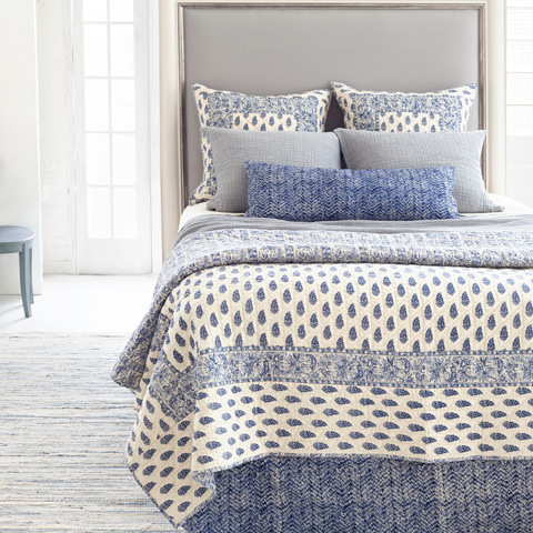 Pine Cone Hill, Inc. - Resist Indigo Quilted Bed Skirt in King - RIQBSK