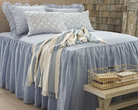 Pine Cone Hill, Inc. - Savannah Linen Chambray French Blue Bedspread-King - SAFBBCK