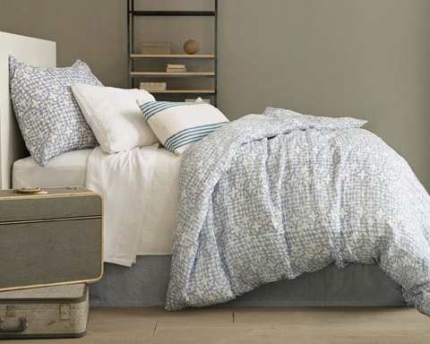 Pine Cone Hill, Inc. - Savannah Linen Chambray French Blue Bed Skirt-King - SAFBBSK