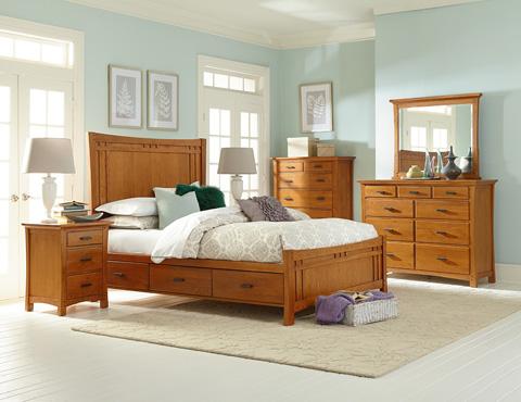 Whittier Wood Furniture - Prairie City Queen Panel Storage Bed - 1253LSO